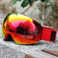 China REVO Red Lens Color Ski Snowboard Goggles Elastic Strap For Clear And Clean Vision wholesale