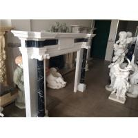 China Simple Column Marble Fireplace Surround Natural White Color Elegant Appearance on sale