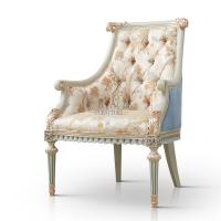 China Royalty Leisure Chair High End Luxury Birch Wood Wooden Hall Chair Set on sale