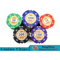 China Sticker Pure Casino Poker Chip Set With UV Logo , Ceramic Poker Chip Sets  wholesale