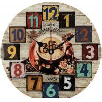 China Vintage Arabic Numeral Design Rustic Country Farmhouse Oversized Wooden Decorative Round Wall Clock wholesale