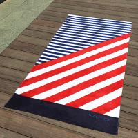 China Patriotic Flag Printed Towels Red White and Blue Striped Jumbo Beach Towels wholesale