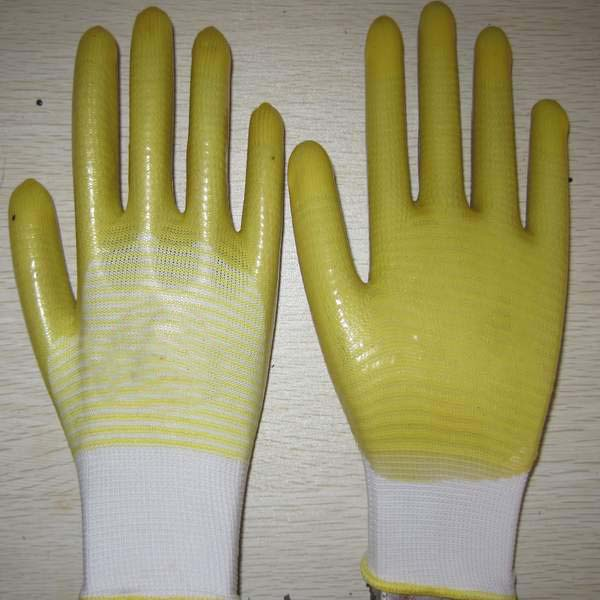 Quality yellow PVC coated working gloves PG1511-11 for sale