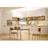 China Matt White L Shape Pvc Kitchen Cabinets With Table / SS Countertop / Blum Hardware wholesale