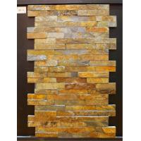 China Yellow Slate Cultured Stone Flast Wall Cladding For Exterior And Interior Use wholesale