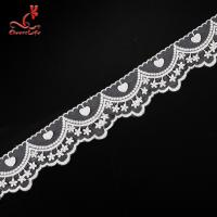 China Cotton White Embroidered Lace Trim 5.6cm Width Static - Cling Resistant wholesale