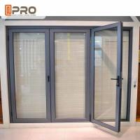 China Powder Coating Grey Aluminum Folding Doors With Double Glass Water Resistant wholesale