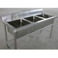 China Restaurant Three Tubs Stainless Steel Kitchen Sink Commercial 1800 x 600 x 850MM wholesale