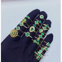 China Girls Gemstone Gold Jewelry ,  Natural Emerald Diamond Gold Ring In Solid Gold wholesale