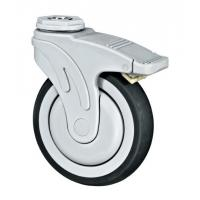 Full Plastic Medical Caster Wheels With Brake Soft Rubber Bolt Hole Fixing