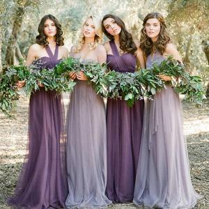 China Hot Sale Gray And Purple Halter Chiffon Strapless Grace Evening Dress TSJY125 wholesale