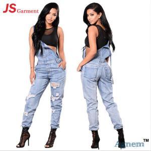 Fashion Distressed Ladies Jeans Pant Slim Suspender Jumpsuit Type