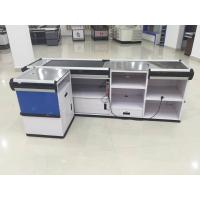 China Full Metal Supermarket Conveyor Belt Checkout Counter Cashier Currency Desk Checkout Counter wholesale