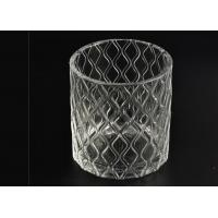 China Wax Cylinder Frosted Glass Candle Holders For Wedding , Glass Candle Cups wholesale