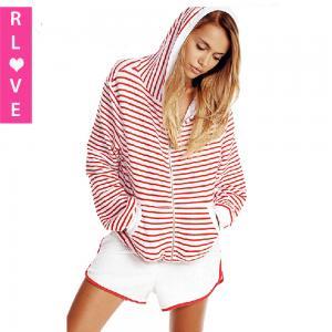 China Europe Spring 2015 new navy wind classic stripe tide thin coat pocket hooded sweatshirt wholesale