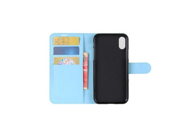 Quality Sky Blue Pu Leather Phone Case Wallet Style Logo Printing For IPhone 7 for sale