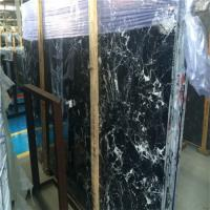 China Ice Dapple Black Marble Floor Tiles Bathroom White Flower Design wholesale