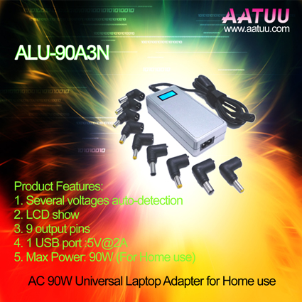 Quality 90W Universal Notebook AC Adapter with LCD Show, 9 Output Pins -ALU-90A3N for sale
