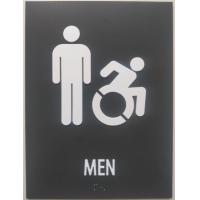 "Iron Gray ADA Mens Restroom Sign Straight Edge 1/8"" Non Glare Acrylic"