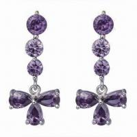 China Economical Long Dangling Crystal Drop 925 Sterling Silver Earrings with CZ as Stone wholesale