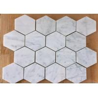 "China 3"" Hexagon Mosaic Tile , White Stone Mosaic Floor Tile For Bath Floor wholesale"