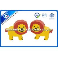 Cartoon Animal Promotional TPR Kids Erasers 3cm × 1.2cm Red and Yellow Lion shaped