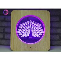 China Acrylic 3D LED Illusion Lamps Plastic Wooden Grain Visual Light Smart Color Changing wholesale