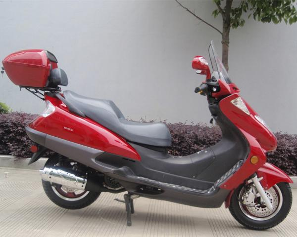 Quality Two Headlights Blue Adult Gas Scooter , 150cc Motor Scooter With 2 Seats Real Leather for sale