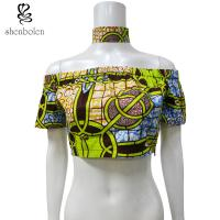 Off Shoulder African Print Crop Tops With Choker 100 Percentage Cotton Printed