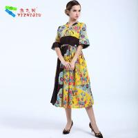 China Anti Shrink Women'S Floral Print Dresses , Cotton Long Frock For Summer on sale