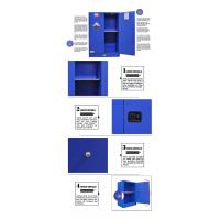 Blue Fireproof Chemical Storage Cabinet 12 Gallon Double - Walled Steel Structure