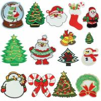 China Christmas Iron On Embroidered Sew On Badges Washable With Soft Ultrasonic Cut wholesale