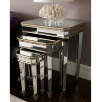 China 3 Set Mirrored Side Tables For Bedroom , Silver Modern Mirrored Furniture wholesale