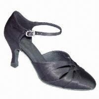 China Ballroom Dance Shoes, Suitable for Women, Made of Black Satin wholesale