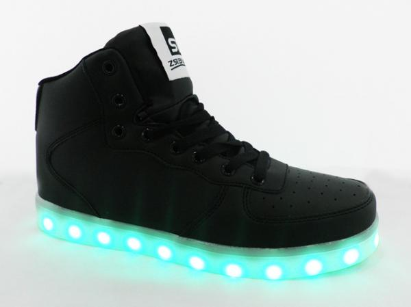 Quality Hightop PU Leather USB Led Casual Shoes With 14 Multi Mode TPR Sole for sale