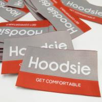 China High quality Laser polyester woven label damask woven label in round corner wholesale