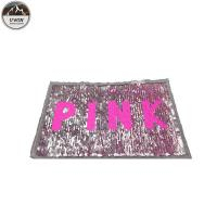 China Pink Reverse Sequin Patch / Sequin Letter Patches Durable Cutomized Logo wholesale