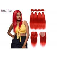 China Red Brazilian Straight Hair Bundles With Closure Colored 99J Burgundy Bundles Human Hair Weave Thickweft wholesale