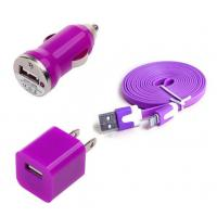 China USB Home AC Wall charger+Car Charger+8 Pin Sync USB Cord for iPhone 5 5S 5C 5G Purple wholesale