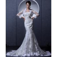 China Simple Lace Bra long train Ladies Wedding Dresses strapless wedding gowns with Invisible Zipper wholesale
