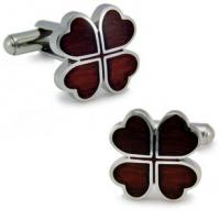 China Silver Stainless Steel Leaf Cufflinks on sale