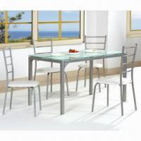 China Dining table and chair set with tempered glass table top, used for family party wholesale