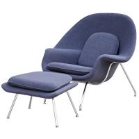 China Mid-century Modern Design chairs Cashmere Upholstered Womb Hotel Lounge Chairs wholesale