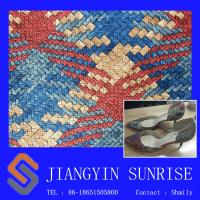 China 2016 Newest Synthetic Leather Fabric For Sping Or Summer , Emboss / Flocking For Lady Shoes wholesale