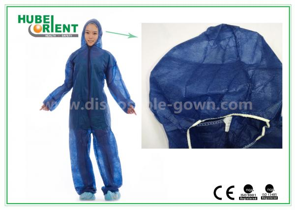 Quality Disposable Non woven long sleeve coveralls With Elastic Wrists and Ankles , Size custom for sale