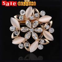 China Opal Flower Crytsal Silk Scarves Buckle Opals Scarf Rhinestone Ring Clip Brooch for Women wholesale