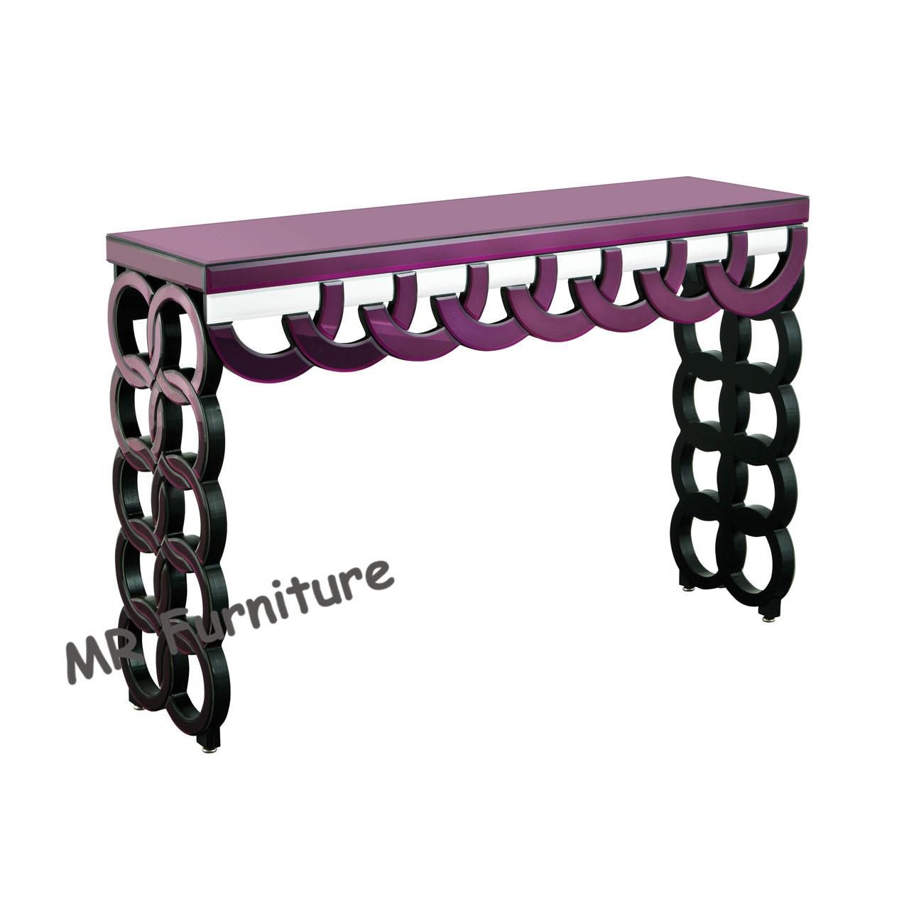 China Purple Mirrored Hall Table , 100 * 35 * 78cm Glass Mirror Hallway Console Table wholesale