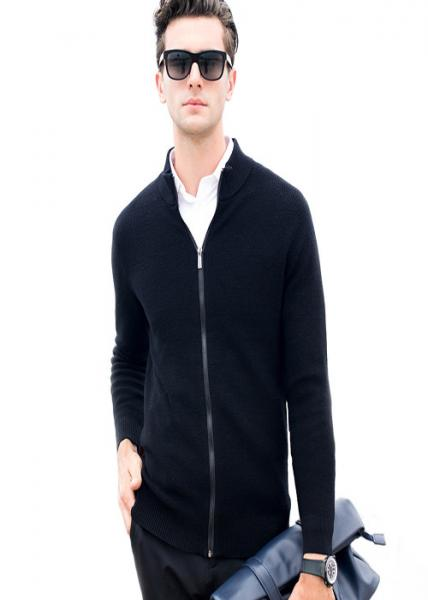 Quality Black Wool Mens Zip Up Sweater Long Sleeved Pure Color Cardigan Sweater for sale