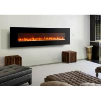"China led flame 95"" wall mounted electric  fireplace modern flat black glass remote control stone fuel multi flame effect wholesale"