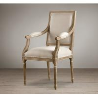 Europe style fashion french upholstered armrest Fabric Dining Chair with wooden legs